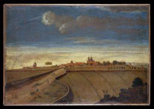 Den gamle Roskildevej ved indkørslen til Roskilde, o. 1740. Bønderne havde pligt til at vedligeholde veje, men det blev oftest indskrænket til et minimum. Maleri af J. Rauch og H.H. Eegboerg, Nationalmuseet.