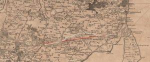 """Strækningen fra Frederiksborg Slot i Købehavn til Roskilde skulle anlægges i lige linje """"saa vist muligt kan ske"""". På dette kort fra 1768 er den gamle, snoede landevej markeret med hvid, mens den nye hovedvej er indtegnet med rødt. Kort- og Matrikelstyrelsen."""