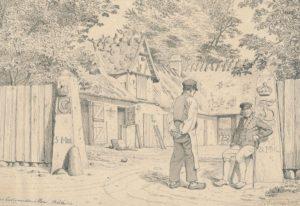 Møller S.M. Mellerup på Lille Ladegård Mølle sidder foran møllegården lænende sig op ad en milesten. Tegning af J. Kornerup, 1859. ROMU.